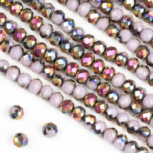 Crystal 3x4mm Hot Pink Golden Copper Kissed Opaque Purple Hydrangea Rondelle Beads - Approx. 15.5 inch strand