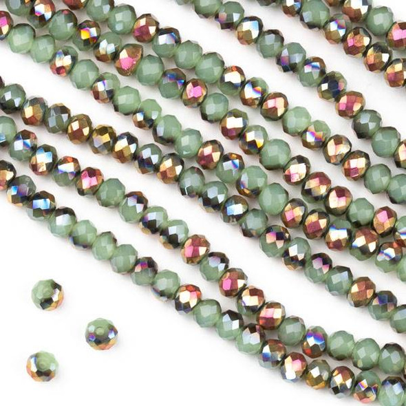 Crystal 3x4mm Opaque Hot Pink Golden Copper Kissed Spearmint Green Faceted Rondelle Beads - Approx. 15.5 inch strand