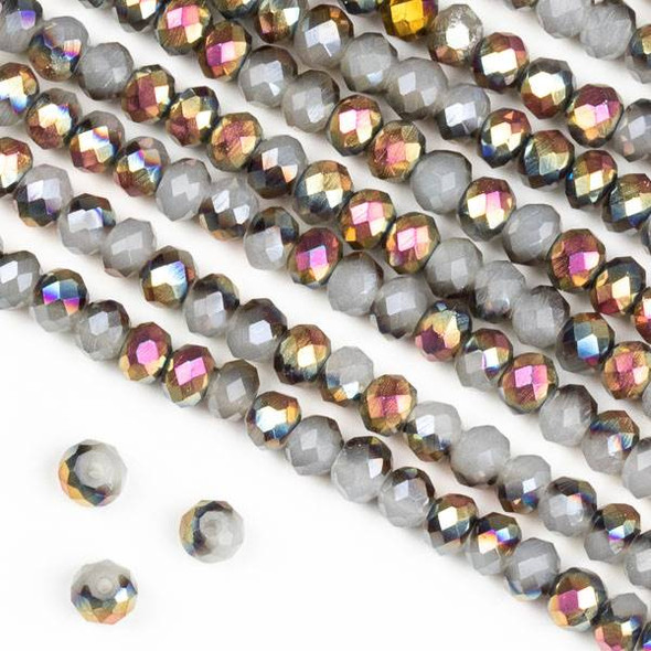 Crystal 3x4mm Hot Pink Golden Copper Kissed Opaque Smoke Grey Rondelle Beads - Approx. 15.5 inch strand