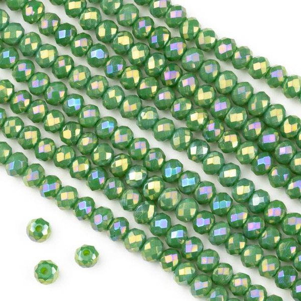 Crystal 3x4mm Opaque Ivy Green Faceted Rondelle Beads with a Golden AB finish - Approx. 15.5 inch strand