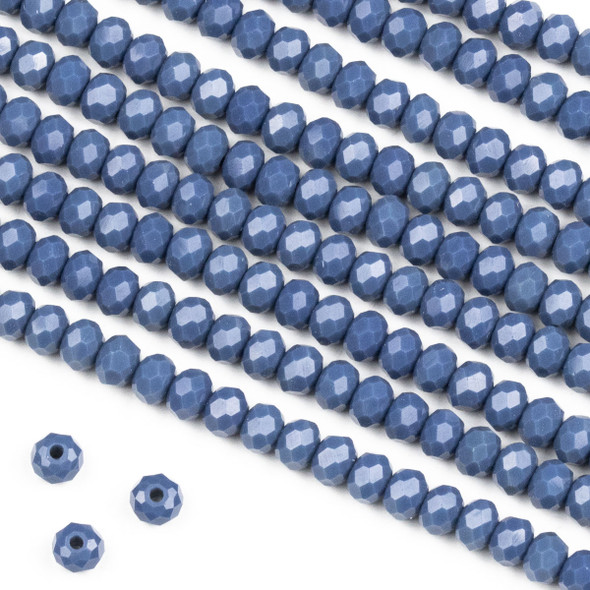Crystal 3x4mm Opaque Kyanite Blue Rondelle Beads -Approx. 15.5 inch strand