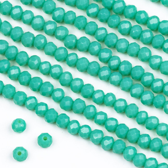 Crystal 3x4mm Opaque Light Ocean Blue Rondelle Beads -Approx. 15.5 inch strand