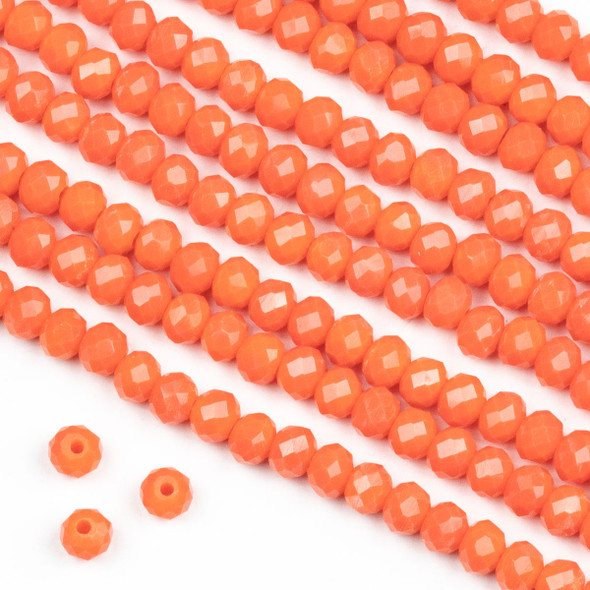 Crystal 3x4mm Opaque Mango Orange Rondelle Beads -Approx. 15.5 inch strand