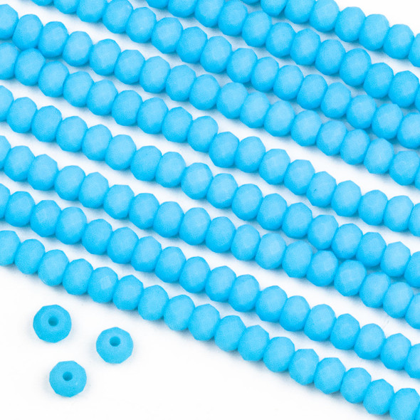 Crystal 3x4mm Opaque Matte Middle Sky Blue Rondelle Beads -Approx. 15.5 inch strand