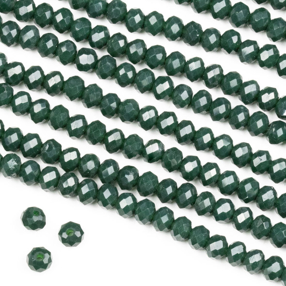 Crystal 3x4mm Opaque Pine Green Rondelle Beads -Approx. 15.5 inch strand