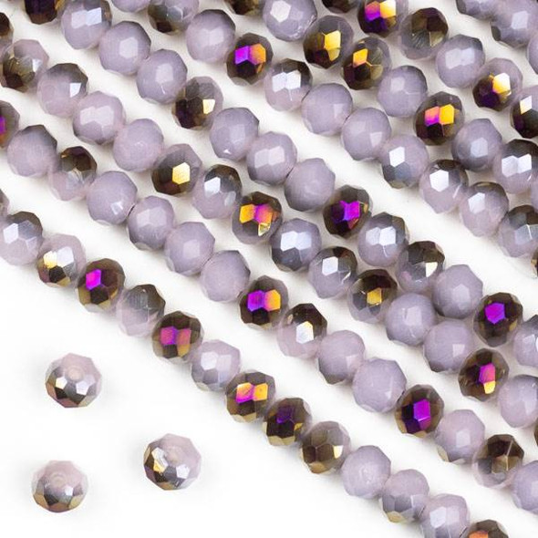 Crystal 3x4mm Purple Rainbow Kissed Opaque Pink Hydrangea Rondelle Beads - Approx. 15.5 inch strand