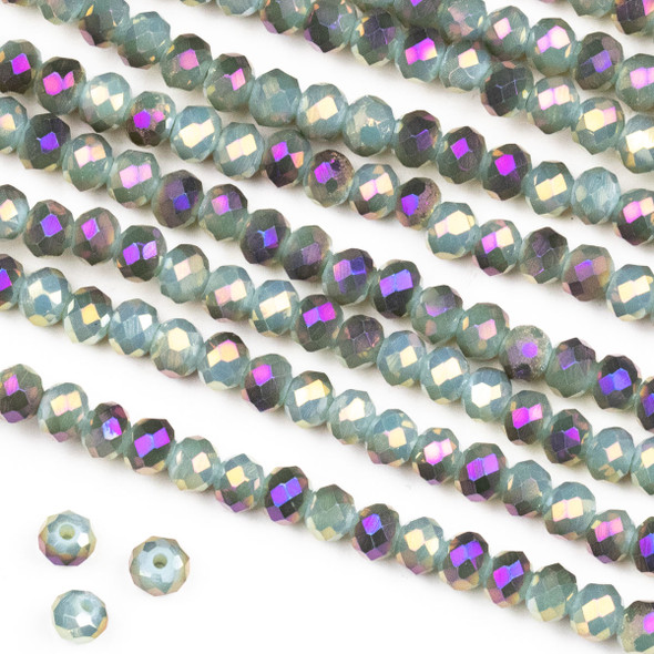 Crystal 3x4mm Opaque Purple Rainbow Kissed Spanish Moss Green Rondelle Beads -Approx. 15.5 inch strand