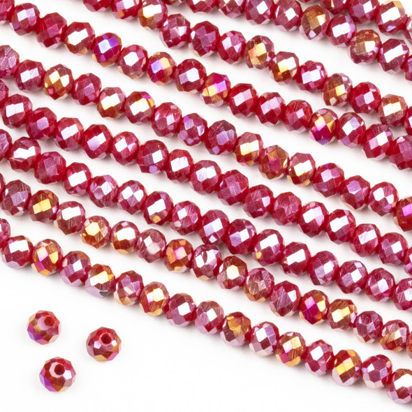 Crystal 3x4mm Opaque Raspberry Red Rondelle Beads with an AB finish -Approx. 15.5 inch strand