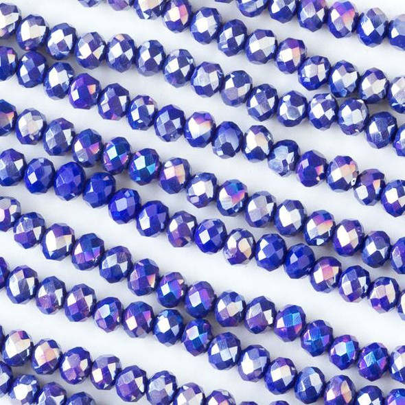 Crystal 3x4mm Opaque Royal Blue Faceted Rondelle Beads with an AB finish - Approx. 15.5 inch strand