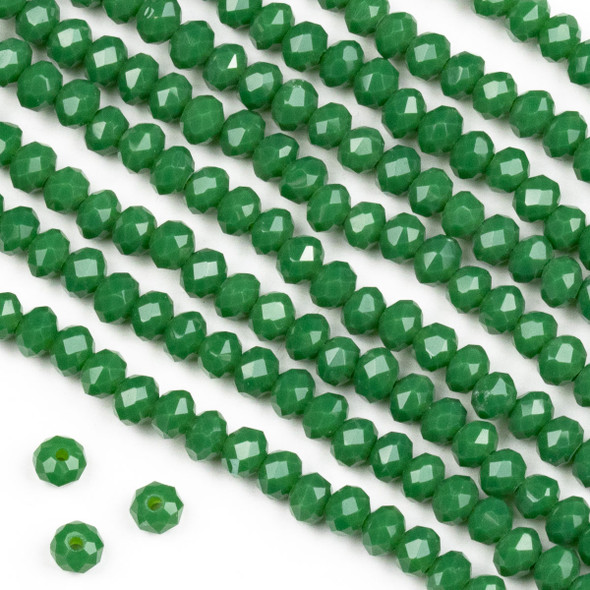 Crystal 3x4mm Opaque Shamrock Green Rondelle Beads -Approx. 15.5 inch strand