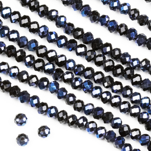 Crystal 3x4mm Opaque Starry Night Rondelle Beads -Approx. 15.5 inch strand