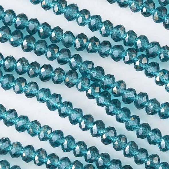 Crystal 3x4mm Peacock Green Rondelles - Approx. 15.5 inch strand