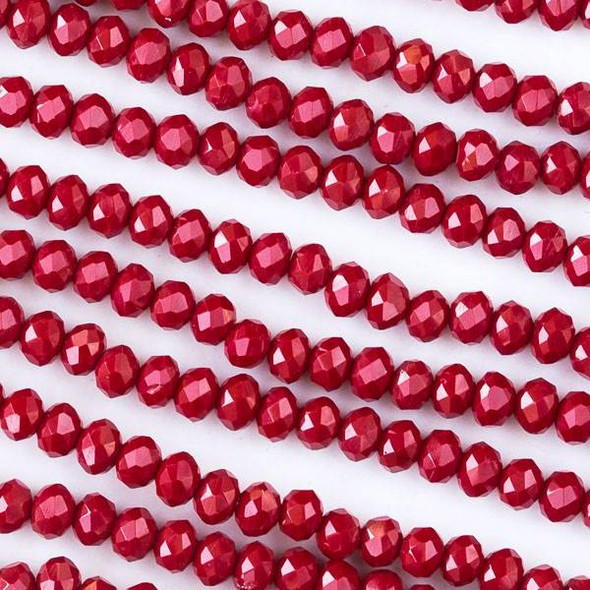 Crystal 3x4mm Opaque Red Velvet Rondelle Beads - Approx. 15.5 inch strand