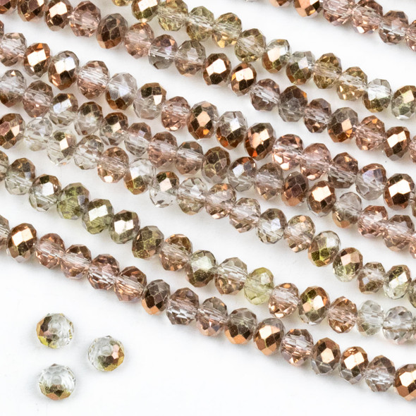 Crystal 3x4mm Opaque and Translucent Smoky Rose Gold Faceted Rondelle Beads - Approx. 15.5 inch strand