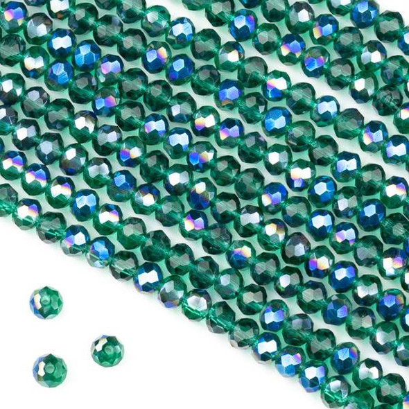 Crystal 3x4mm Blue Rainbow Kissed Teal Green Faceted Rondelle Beads - Approx. 15.5 inch strand