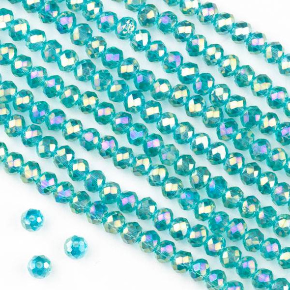 Crystal 3x4mm Teal Green Faceted Rondelle Beads with an AB finish - Approx. 15.5 inch strand