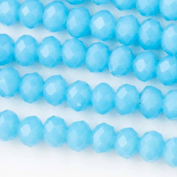 Crystal 4x6mm Opaque Wedgewood Blue Rondelles - Approx. 15.5 inch strand