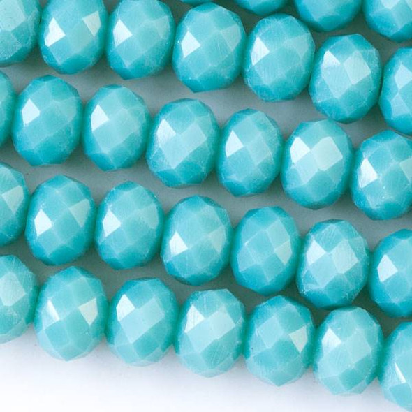 Crystal 4x6mm Opaque Arctic Blue Faceted Rondelle Beads - Approx. 15.5 inch strand