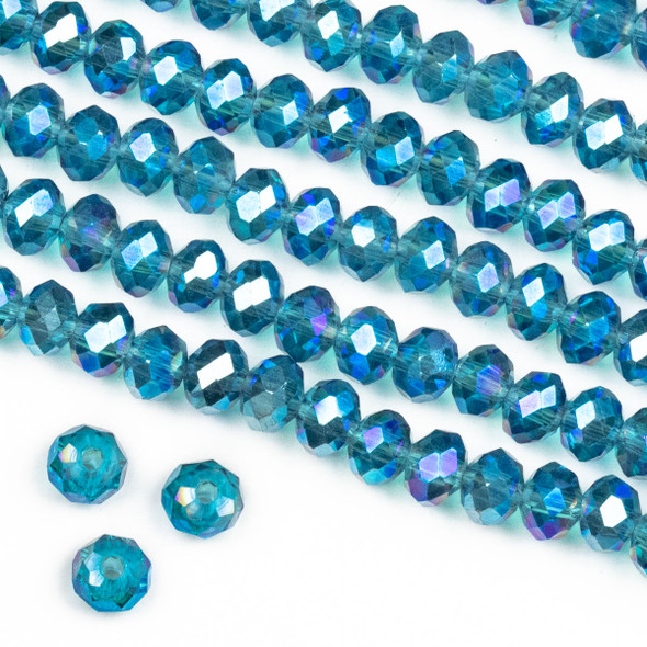 Crystal 4x6mm Blue Green Bahama Mermaid Faceted Rondelle Beads - Approx. 15.5 inch strand