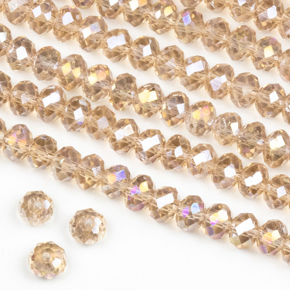 Crystal 4x6mm Pink Blush Rondelle Beads with an AB finish -Approx. 15.5 inch strand
