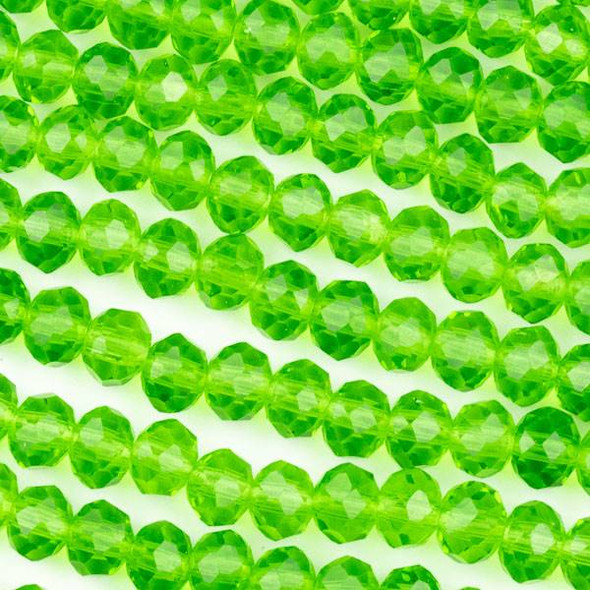 Crystal 4x6mm Emerald Green Rondelle Beads - Approx. 15.5 inch strand