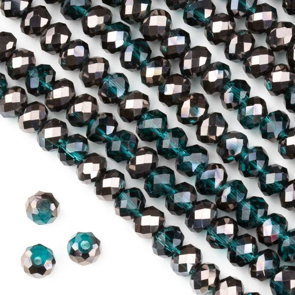 Crystal 4x6mm Gun Metal Kissed Peacock Blue Faceted Rondelle Beads  - Approx. 15.5 inch strand