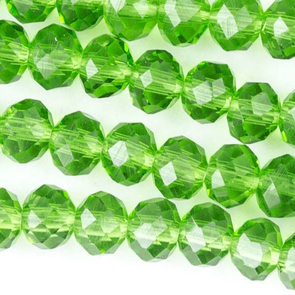 Crystal 4x6mm Grass Green Rondelles - Approx. 15.5 inch strand