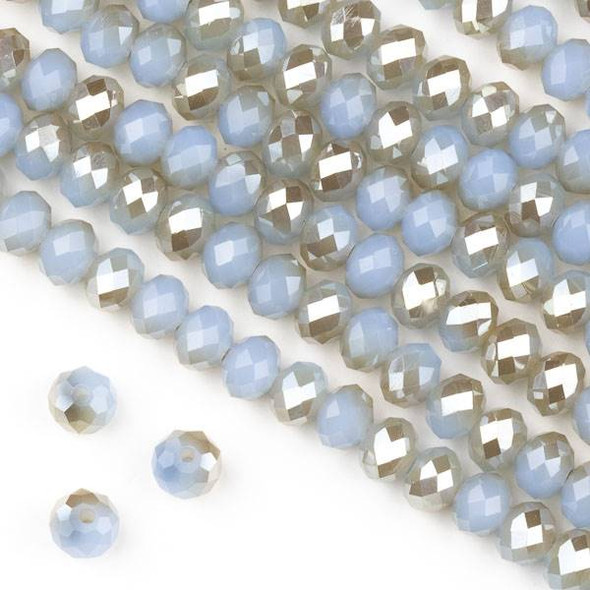 Crystal 4x6mm Honey Kissed Milky Fog Faceted Rondelle Beads  - Approx. 15.5 inch strand