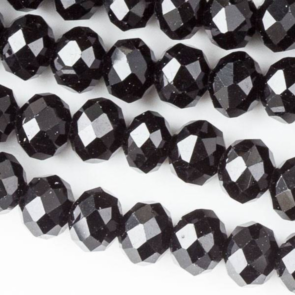 Crystal 4x6mm Jet Black Rondelles - Approx. 15.5 inch strand