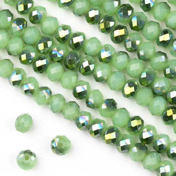 Crystal 4x6mm Opaque Spearmint Kissed Green Rondelle Beads - Approx. 15.5 inch strand