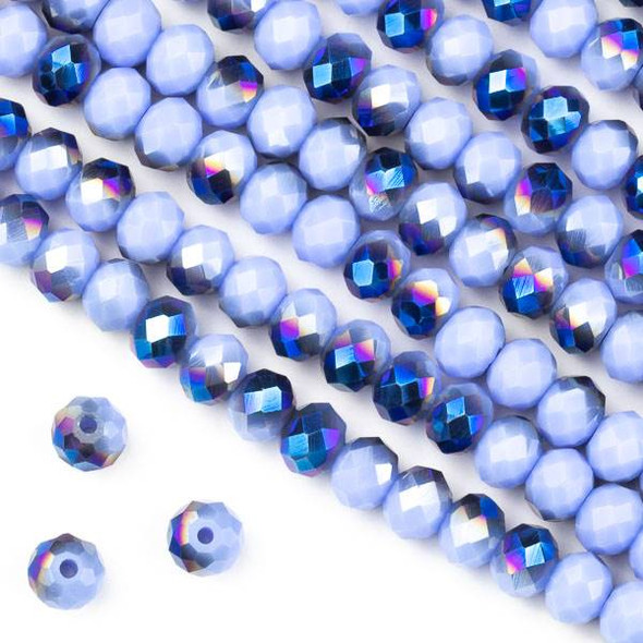 Crystal 4x6mm Opaque Blue Rainbow Kissed Light Periwinkle Faceted Rondelle Beads - Approx. 15.5 inch strand