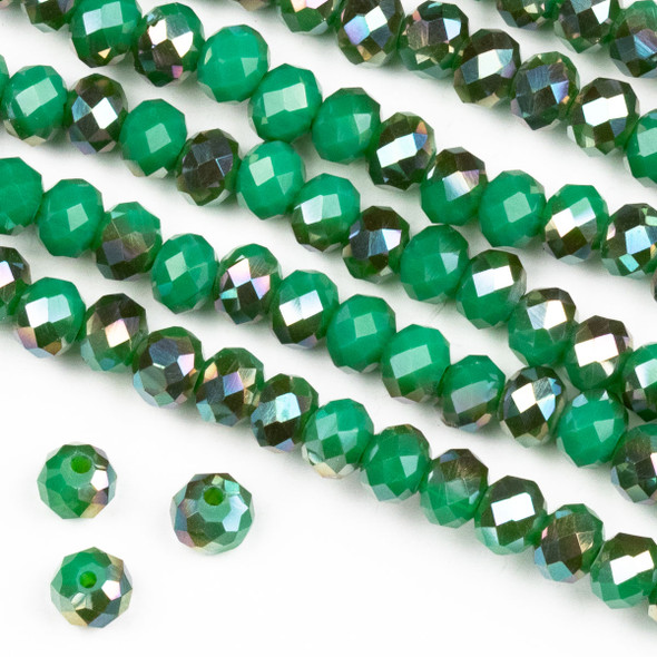 Crystal 4x6mm Opaque Bronze Kissed Jade Green Rondelle Beads -Approx. 15.5 inch strand