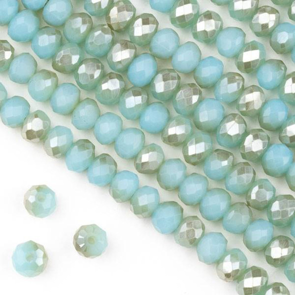 Crystal 4x6mm Opaque Champagne Kissed Baby Blue Faceted Rondelle Beads  - Approx. 15.5 inch strand