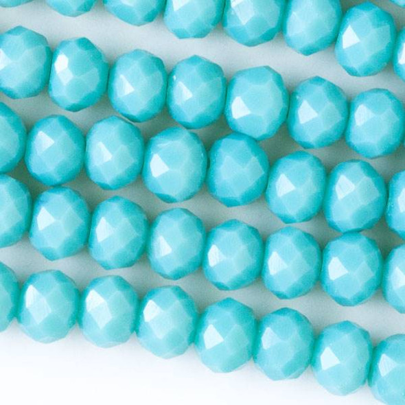 Crystal 4x6mm Opaque Chinese Turquoise Blue Faceted Rondelle Beads - Approx. 15.5 inch strand