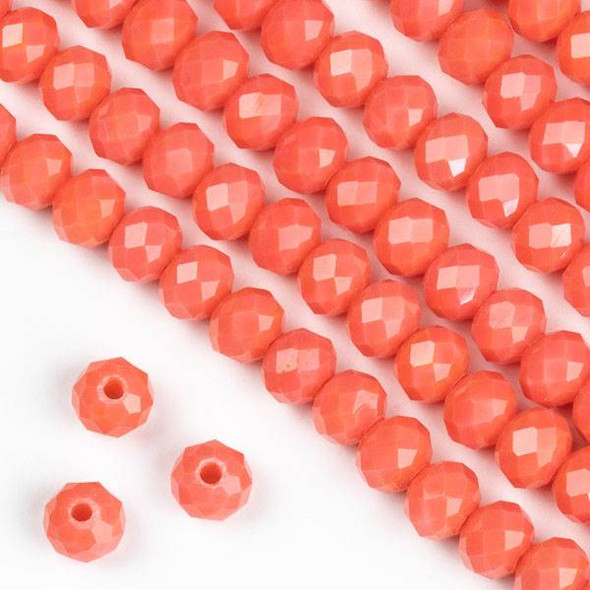 Crystal 4x6mm Opaque Coral Orange Faceted Rondelle Beads - Approx. 15.5 inch strand