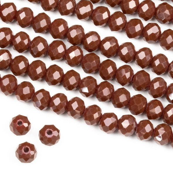 Crystal 4x6mm Opaque Dark Leather Red Rondelle Beads -Approx. 15.5 inch strand