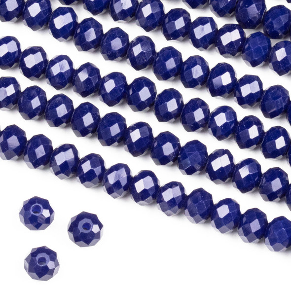 Crystal 4x6mm Opaque Dark Navy Blue Rondelle Beads -Approx. 15.5 inch strand