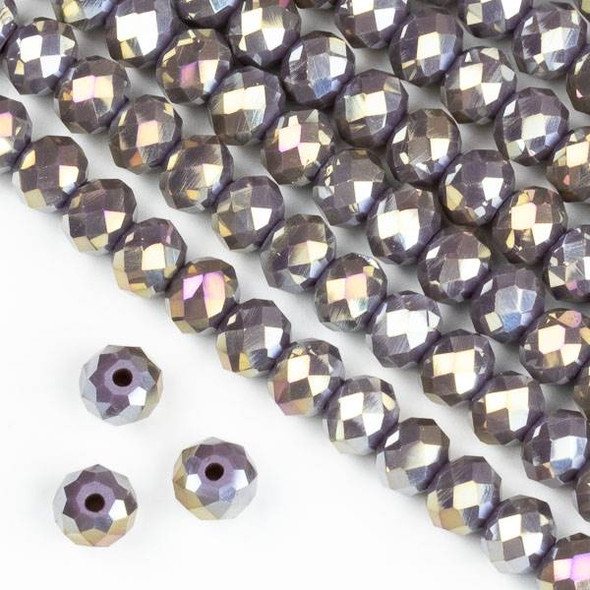 Crystal 4x6mm Dark Purple Hydrangea Rondelle Beads with an AB finish - Approx. 15.5 inch strand