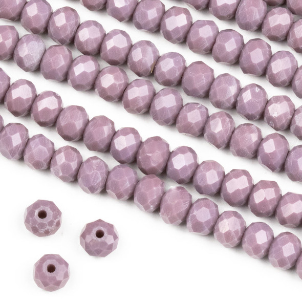Crystal 4x6mm Opaque Dusty Plum Purple Rondelle Beads -Approx. 15.5 inch strand