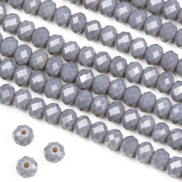 Crystal 4x6mm Opaque Fog Grey Rondelle Beads -Approx. 15.5 inch strand