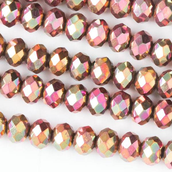 Crystal 4x6mm Opaque Golden Copper Faceted Rondelle Beads with a Hot Pink AB finish - Approx. 15.5 inch strand