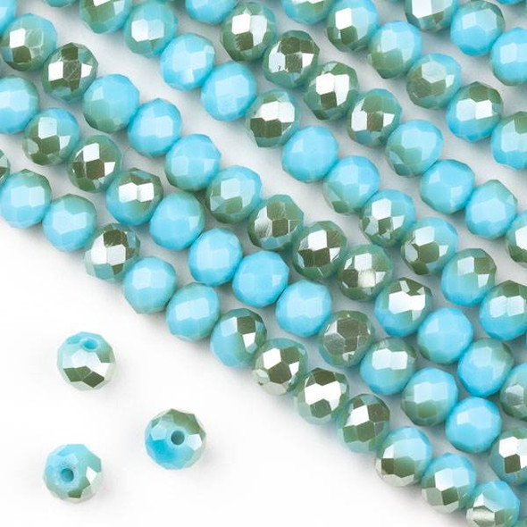 Crystal 4x6mm Opaque Honey Kissed Chinese Turquoise Blue Faceted Rondelle Beads  - Approx. 15.5 inch strand