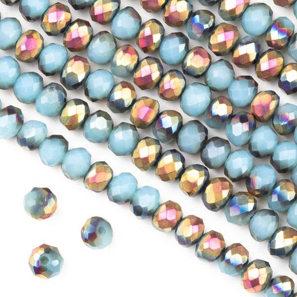 Crystal 4x6mm Opaque Hot Pink Golden Copper Kissed Blue Grey Faceted Rondelle Beads - Approx. 15.5 inch strand