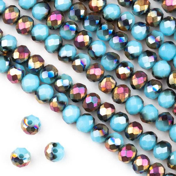 Crystal 4x6mm Opaque Hot Pink Golden Copper Kissed Chinese Turquoise Blue Faceted Rondelle Beads - Approx. 15.5 inch strand