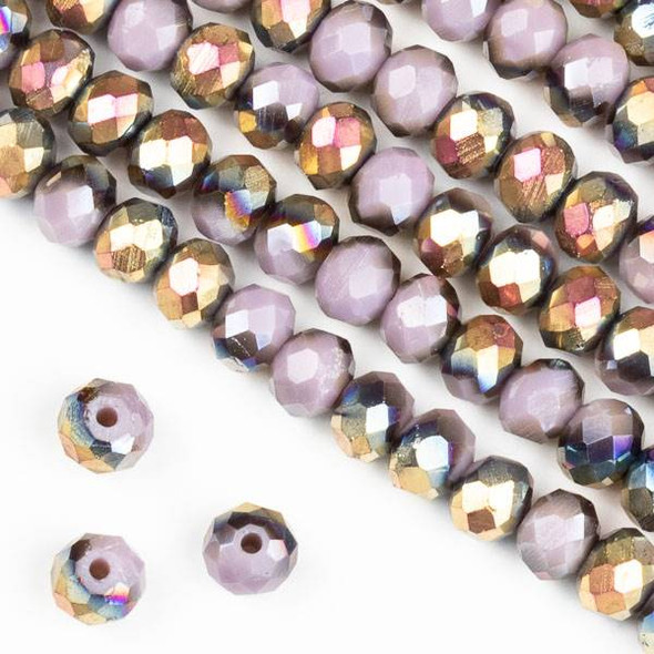 Crystal 4x6mm Hot Pink Golden Copper Kissed Opaque Purple Hydrangea Rondelle Beads - Approx. 15.5 inch strand