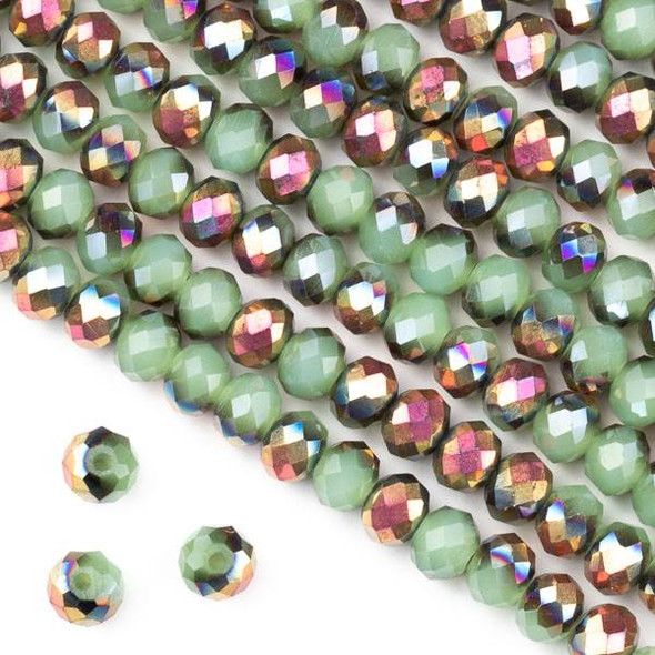 Crystal 4x6mm Opaque Hot Pink Golden Copper Kissed Spearmint Green Faceted Rondelle Beads - Approx. 15.5 inch strand