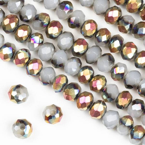 Crystal 4x6mm Hot Pink Golden Copper Kissed Opaque Smoke Grey Rondelle Beads - Approx. 15.5 inch strand