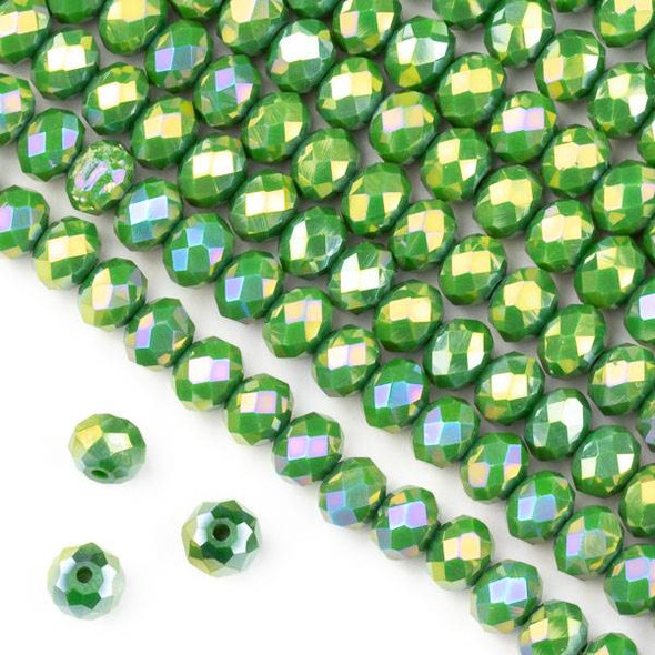 Crystal 4x6mm Opaque Ivy Green Faceted Rondelle Beads with a Golden AB finish - Approx. 15.5 inch strand