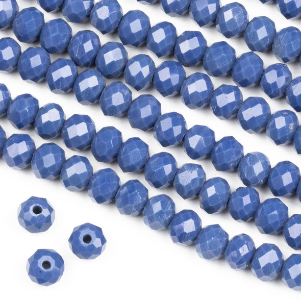 Crystal 4x6mm Opaque Kyanite Blue Rondelle Beads -Approx. 15.5 inch strand