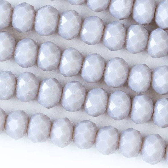 Crystal 4x6mm Opaque Light Grey Faceted Rondelle Beads - Approx. 15.5 inch strand